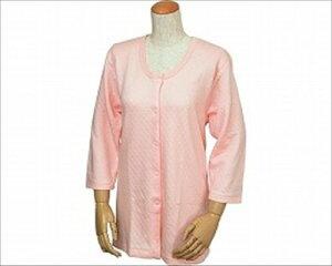 キルト八分袖 前開きシャツ (ワンタッチテープ式) 婦人用 M (W461 ピーチ)【ウエル】 U0242