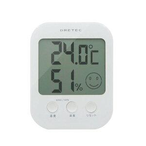 【配送/送料無料】DRETEC デジタル温湿度計 「オプシス」 ホワイト O-230WT