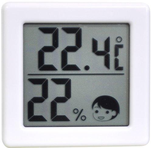 DRETEC 【熱中症・インフルエンザの危険度の目安を表情でお知らせ】 小さいデジタル温湿度計 ホワイト O-257WT【02P06Aug16】