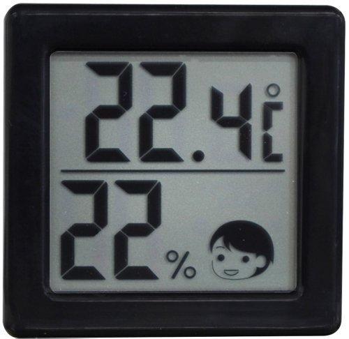 DRETEC 【熱中症・インフルエンザの危険度の目安を表情でお知らせ】 小さいデジタル温湿度計 ブラック O-257BK【02P06Aug16】