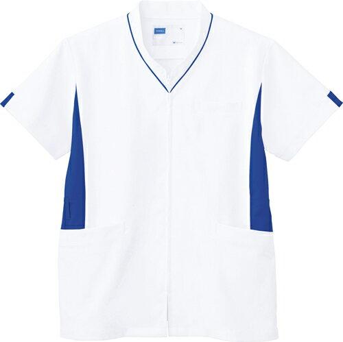 【自重堂】男女兼用スクラブ WH12085(ホワイトブルー) LL