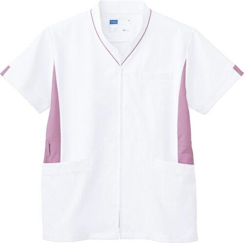 【自重堂】男女兼用スクラブ WH12085(ホワイトピンク) LL