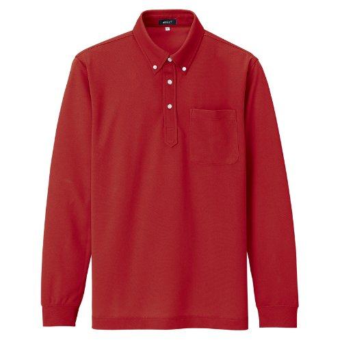 アイトス 吸汗速乾 長袖ボタンダウンポロシャツ [消臭機能] #AZ-10598 レッド 5号