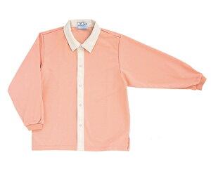 キラク 前開きシャツ M CR809-13(オレンジピンク)