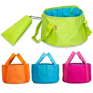 折りたたみバケツ 全4色 大容量12L 丸型 キャンプ 洗車 釣りに便利! 収納バッグ付き