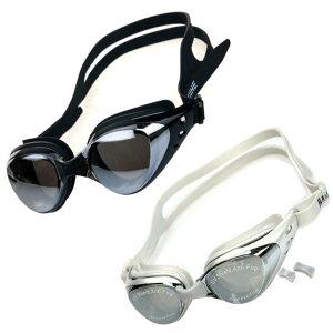 近視用 度付き スイミングゴーグル ブラック シルバー ミラーレンズ 水中メガネ くもり止め UVカット 男女兼用 競泳 プール