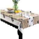 テーブル クロス ブラウン ストライプ 花 柄 模様 が エレガント PVC 素材 防水 撥水
