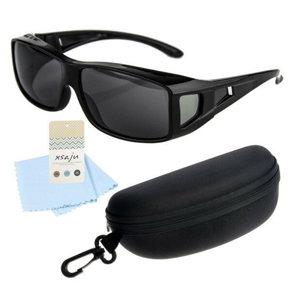 メガネの上から掛けられる 偏光レンズ オーバーグラス サングラス ケース&クロス セット