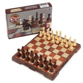 アンティーク チェス マグネット 木製風 ボードを折りたたむと収納可能 Mサイズ (24×28センチ)