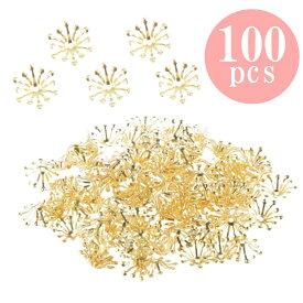 100個入 13mm ビーズキャップ DIY ジュエリー用 花型 座金 花座 ゴールド
