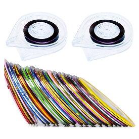 ネイルアート用 ラインテープ 32色セット シート ジェルネイル用 マニキュア 1mm幅 専用ケース2個付き