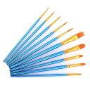 画筆 セット ペイントブラシ 水彩筆 油絵筆 用筆 画筆 ブルー 10本セット