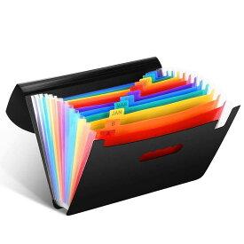 ファイルボックス 書類収納ケース 拡張フォルダ ドキュメントスタンド CNASA A4 12分類 大容量 マルチカラーラ 蓋付き ラベル付き