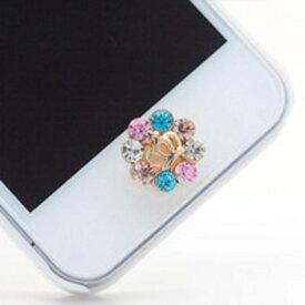 iPhone ホームボタンシール カラフルビジュー キラキラ王冠