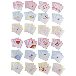 【ポイント5倍!】LOVE ミニ メッセージカード 封筒付き 24種類 各3枚 72点セット 多目的 誕生日 バレンタイン ハート お手紙 クラフト紙 封筒 友達 可愛い プレゼント
