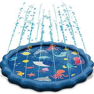 【ポイント5倍!】【 こどもの日 】 噴水マット プレイマット 最新設計 子供 親子 夏 夏休み 巣ごもり 水遊び 芝生遊び 楽しい ビニールプール プールマット 家庭用 夏対策 150CM直径