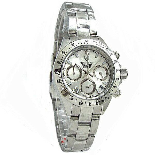 レディス腕時計 アンクラーク センタークロノグラフ 天然ダイヤ シルバーフェイス AM-1012VD-02 ギフト プレゼント