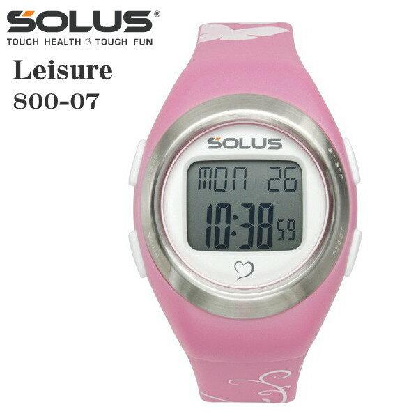 タッチ式心拍計測 腕時計 ランニングウオッチ ソーラス SOLUS メンズ腕時計 Leisure 800-07 ピンク×バタフライ ギフト プレゼント