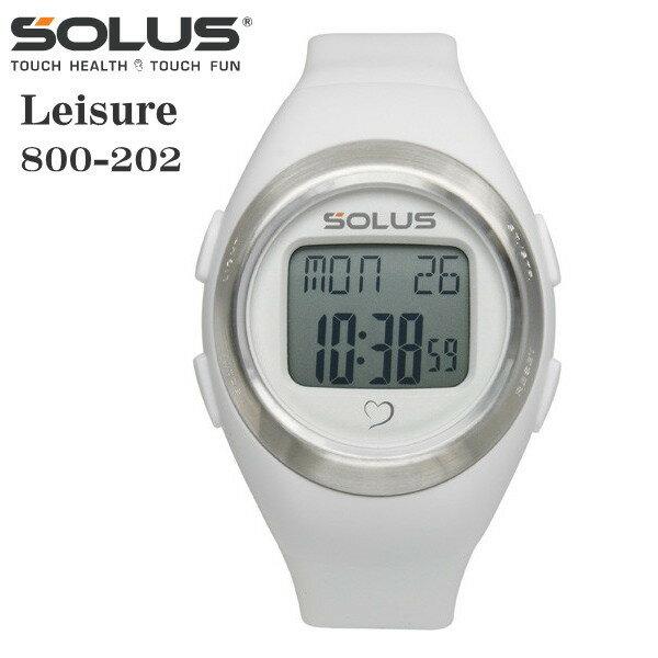 タッチ式心拍計測 腕時計 ランニングウオッチ ソーラス SOLUS メンズ腕時計 Leisure 800-202 ホワイト ギフト プレゼント
