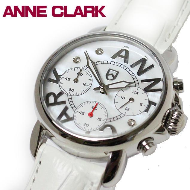 レディス腕時計 アンクラーク 赤針クロノグラフ ホワイトシェル文字盤 AU1033-09 ギフト プレゼント 贈答品