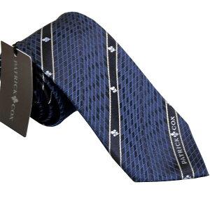 パトリック コックス 紳士ブランドネクタイ PATRICK COX necktie 剣先7,5cm スリムタイプ PC002-NAVY ギフト プレゼント 贈答品