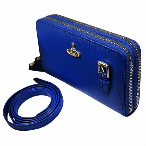 ヴィヴィアンウエストウッド ラウンドファスナー長財布 SAFFIANO 財布ポシェット 51050026 BLUE 18SS No10