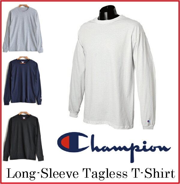 チャンピオン 長袖 Tシャツ 5.2oz US CHAMPION ロンt 袖ロゴ ワッペン ワンポイント 無地 USAモデル 長袖T