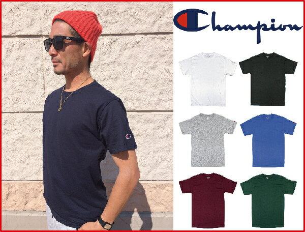 2枚までメール便対応 チャンピオン Tシャツ US CHAMPION チャンピオン 袖ロゴ 半袖Tシャツ 袖 ワッペン ワンポイント 無地 USAモデル ワンポイントtシャツ ロゴtシャツ メンズ アメカジ 本国 シンプル 刺繍
