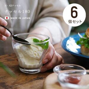 パフェグラス 食器洗浄機対応 日本製 【 ナッセル180 6個入 】 グラス デザイン デザートボール 強化グラス コップ 業務用 家庭用 サラダボウル フルーツボウル デザートカップ シリアル おし