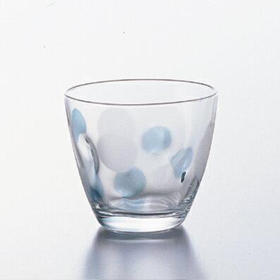水玉グラスフリーカップ(BL) 3個入【ドット/カラフル/ブルー/ポップ/タンブラー/コップ/ガラス食器/石塚硝子/アデリア】