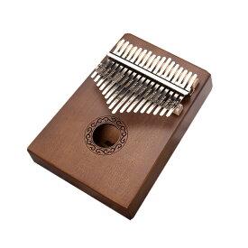 【送料無料】親指ピアノ17音 ダークブラウン カリンバ kalimba サムピアノ 楽器 マホガニー製 初心者 SINKARIN-DB