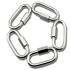 【送料無料】5サイズ5個入304ステンレス鋼リングカラビナロック キャッチクイックリンク口 接続金具 侵入防止厚さ3.5mm4mm5mm6mm 8mm 固定 鎖連結 5-KARABIN