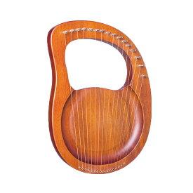 【送料無料】16弦木製ライアーハープ ノーマルブラウン 金属弦 マホガニーソリッド 弦楽器 キャリングバッグ クロスストリング付き MOKURAINS-NB
