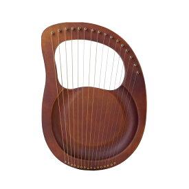 【送料無料】16弦木製ライアーハープ ダークブラウン 金属弦 マホガニーソリッド 弦楽器 キャリングバッグ クロスストリング付き MOKURAINS-DB