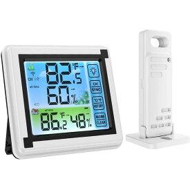 【送料無料】デジタル温湿度計 外気温度計 ワイヤレス 室内外 高精度 LCD大画面 バックライト最高最低温表示 置き掛け両用タイプ マグネット付DEJITARUON