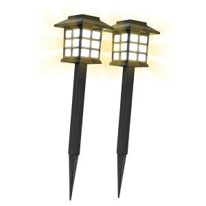 【送料無料】高級 モダン ソーラー LEDライト 2個セット 屋外 埋め込み式 防水 暖色系 LED ガーデン 光センサー 自動点灯 太陽光発電 消灯 常夜灯 2-KOSGEIUGH