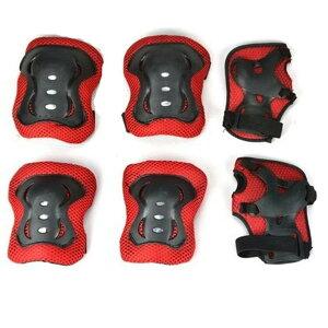 お守りKIDS レッド キッズプロテクター 子供用 6点セット 自転車 一輪車 スケボー スケート に 手首 肘 膝保護 子供 練習 パッド OMAKIDS-RD
