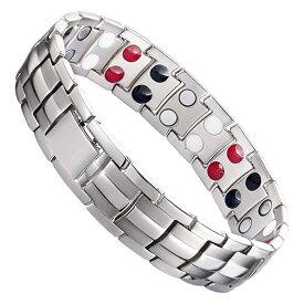 ゲルマニウムブレスレット シルバー 磁気ブレスレット メンズ レデイース ステンレス製 磁気 腕輪 アクセサリー OSYABURE-SV