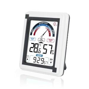 デジタル 温湿度計 時計 室内 タッチ LCD画面 温度計 湿度計 インフルエンザ 予防 マグネット 壁掛け 卓上 SOLIDSTAR