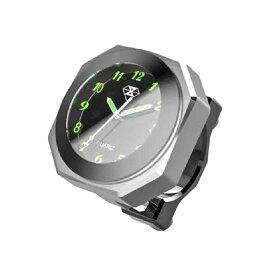 IPX7級防水バイク用時計 シルバー オートバイ 自転車 用 アナログ 時計 夜光 クロック カスタム BAIANA-SV