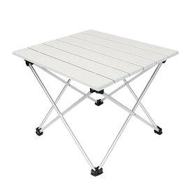 満喫テーブル シルバー アルミ製 ロールテーブル 折畳み キャンプ用品 アウトドアテーブル 耐荷重30kg 収納袋付 おりたたみ MANTABLE-SV