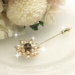スモーキークォーツゴールドパールハットピン淡水パール真珠帽子飾りブローチ