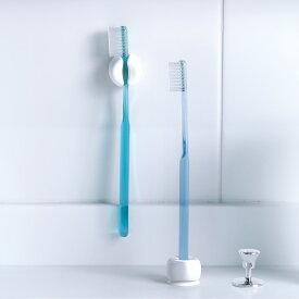 マーナ 歯ブラシホルダー W614【きれいに暮らす。】(同色2個入り)ホワイト 白 クリア ハブラシ はぶらし はみがき ハブラシスタンド 歯ブラシスタンド シンプル 洗面 MARNA