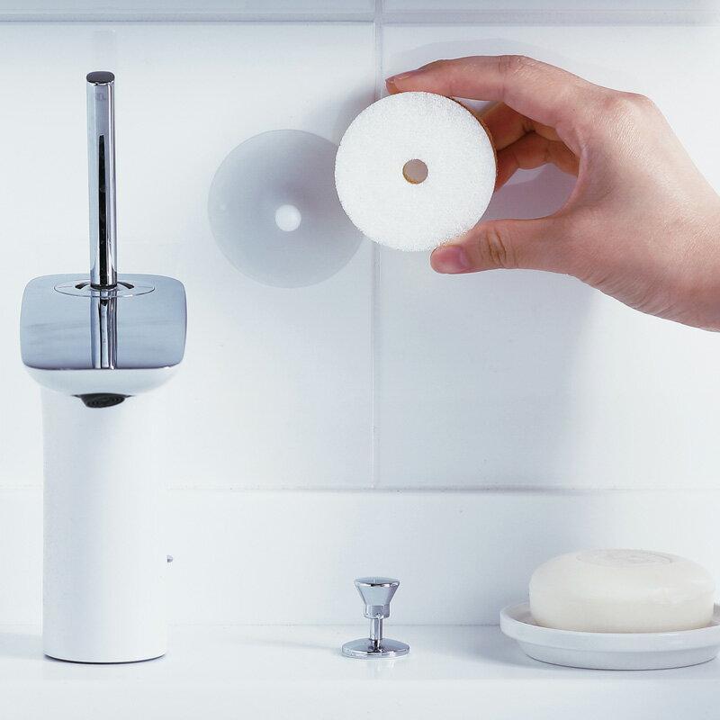 マーナ 洗面スポンジ POCO吸盤付き W615【きれいに暮らす。】グレー ホワイト 白 POCO ミニサイズ 吸盤付き 洗面 スポンジ ポコ シンプル モノトーン MARNA