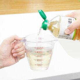 マーナ 目盛りが見やすい計量カップ 500mL (クリア) K728 注ぎやすい 液だれしにくい 電子レンジ可