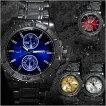 腕時計メンズメタルバンドマットベゼルブラッククロノグラフデザイン合金ウォッチクォーツ生活防水ファッション