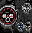 腕時計メンズブラックメタルクロノグラフ調デザインメタルバンド合金ウォッチクォーツ生活防水ファッション