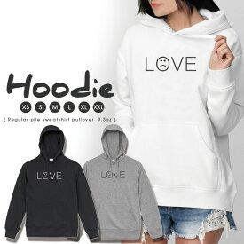 パーカー レディース メンズ スウェット パーカー プルオーバー hoodie 長袖 フード付き ペア カップル XS S M L XL XXL おそろ 大人かわいい おしゃれ LOVE ニコちゃん ラブ ペア シンプル ロゴ