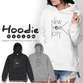パーカー レディース メンズ スウェット パーカー プルオーバー hoodie 長袖 フード付き ペア カップル XS S M L XL XXL おそろ 大人かわいい おしゃれ NYC ニューヨーク ロゴ アメリカ 星条旗 シンプル