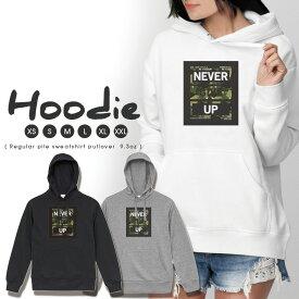 パーカー レディース メンズ スウェット パーカー プルオーバー hoodie 長袖 フード付き ペア カップル XS S M L XL XXL おそろ 大人かわいい おしゃれ 迷彩 ロゴ NEVER GIVE UP エネミー 海外